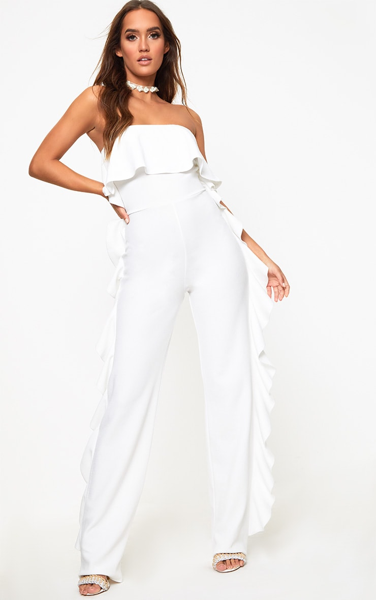 White Bandeau Frill Side Jumpsuit 1