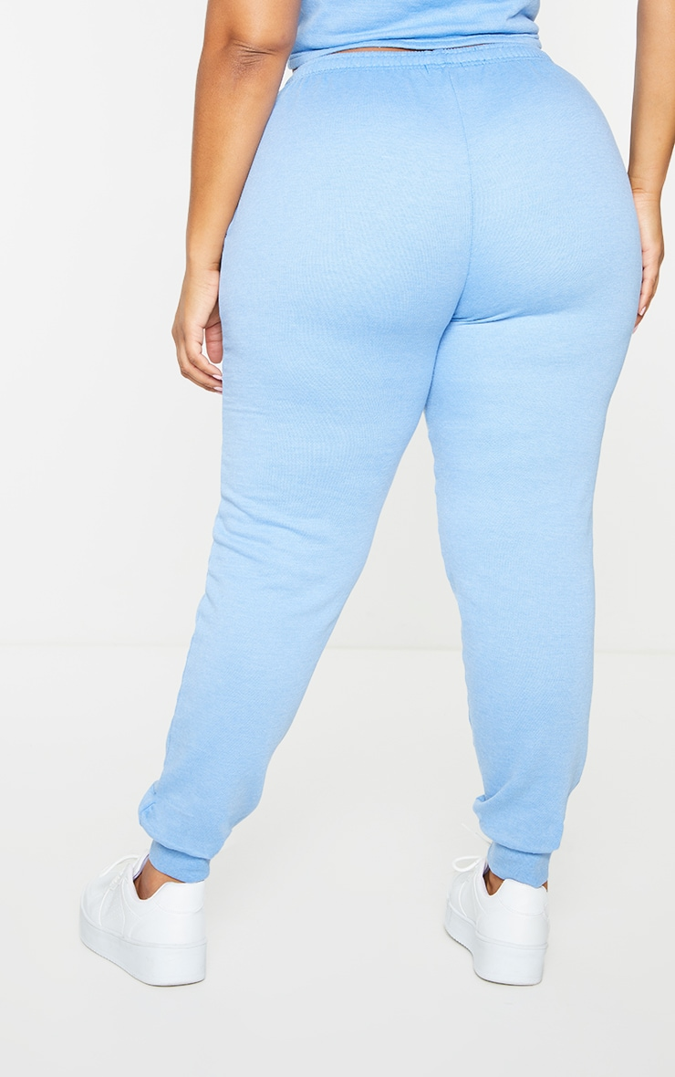 Plus Bright Blue Washed Piping Joggers 3
