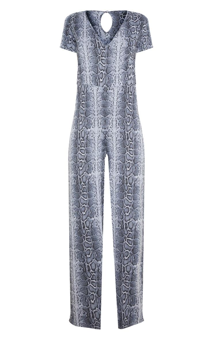 Grey Snake Print Jersey Wide Leg Jumpsuit 3