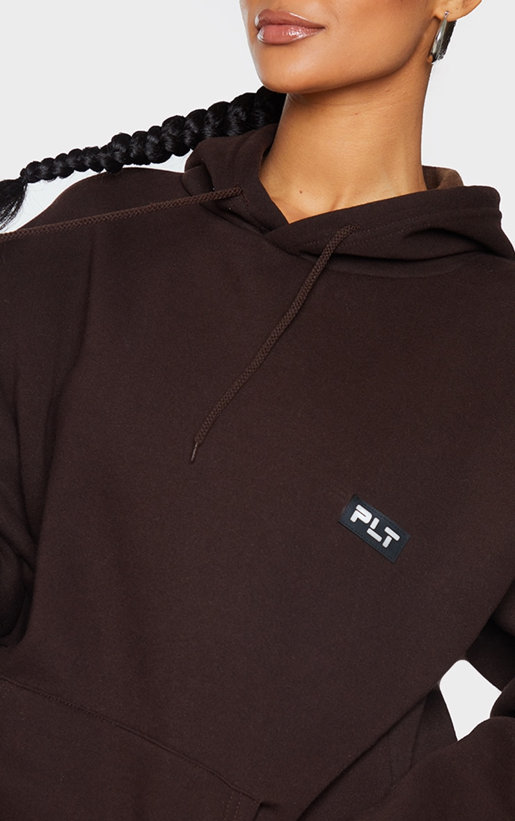 PRETTYLITTLETHING Chocolate Badge Detail Oversized Hoodie 4