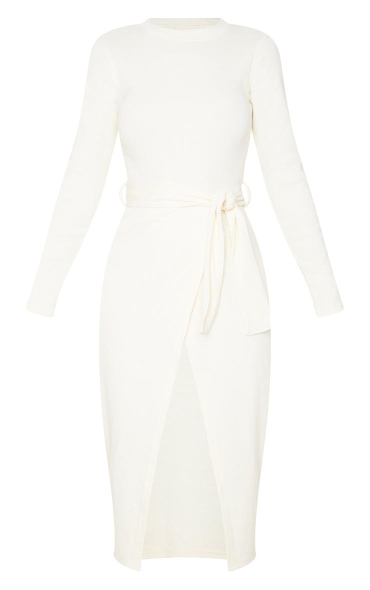 Robe mi-longue portefeuille crème en maille côtelée épaisse à ceinture nouable 3