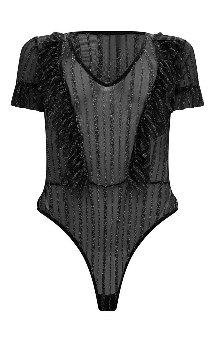 Black Sheer Metallic Stripe Ruffle Mesh Thong Bodysuit 2