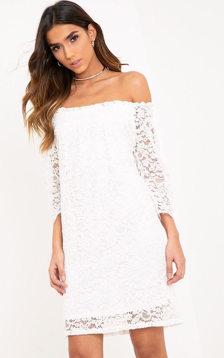 Cora White Lace Bardot Shift Dress 1