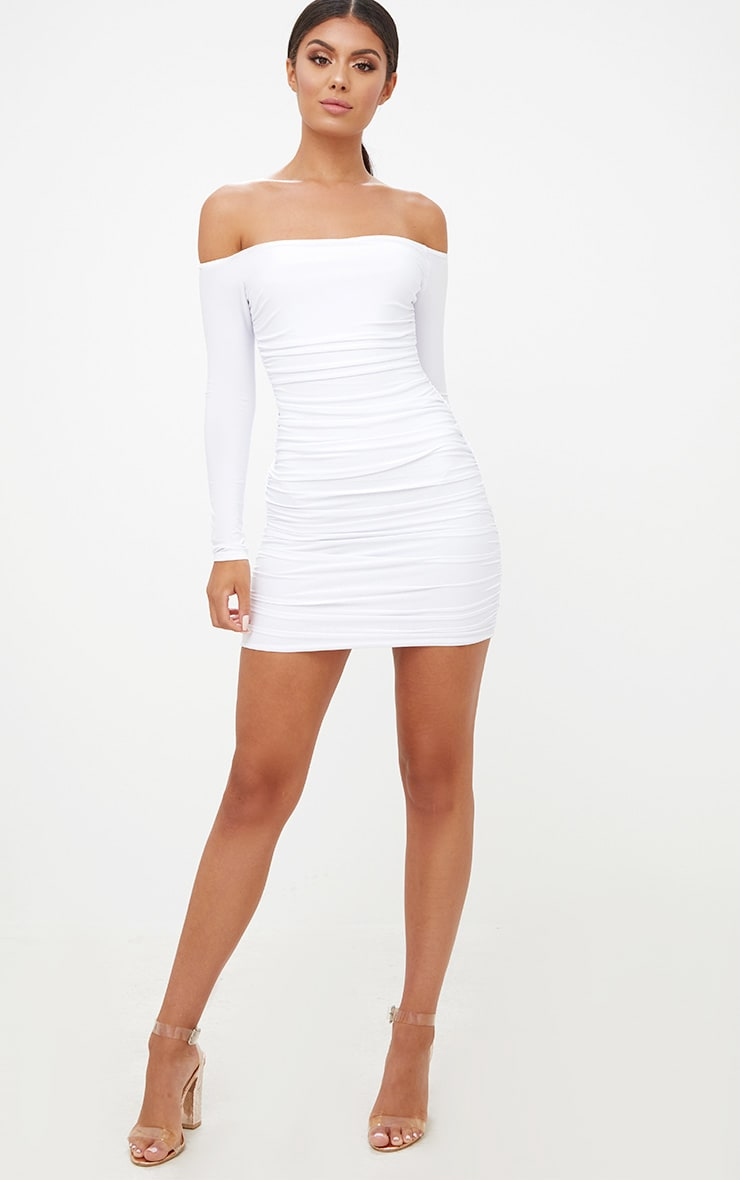 White Bardot Ruched Bodycon Dress 4