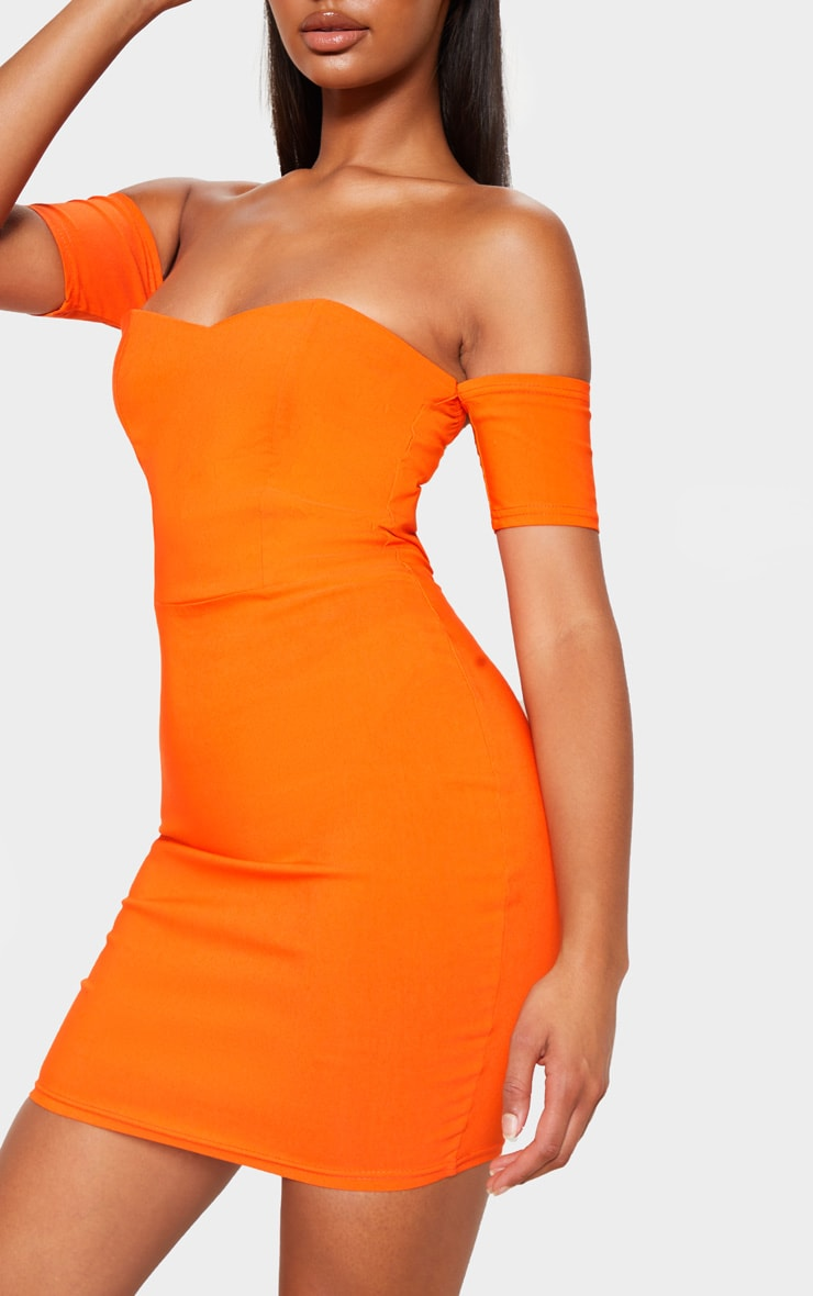 Orange Bardot Bodycon Dress 4