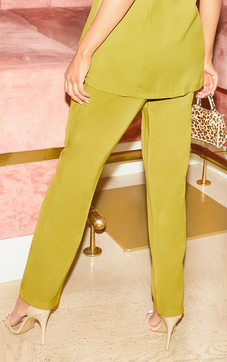 Olive High Waisted Tailored Cigarette Pants 4