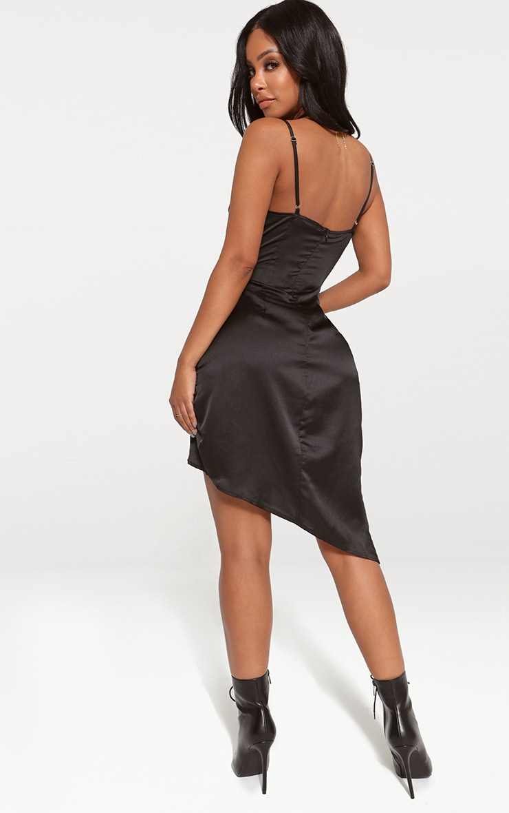 Shape Black Satin Wrap Dress 2