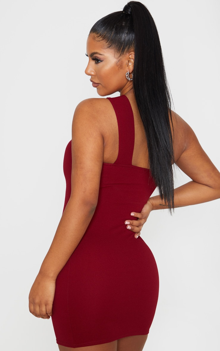 Burgundy One Shoulder  Strap Bodycon Dress 2