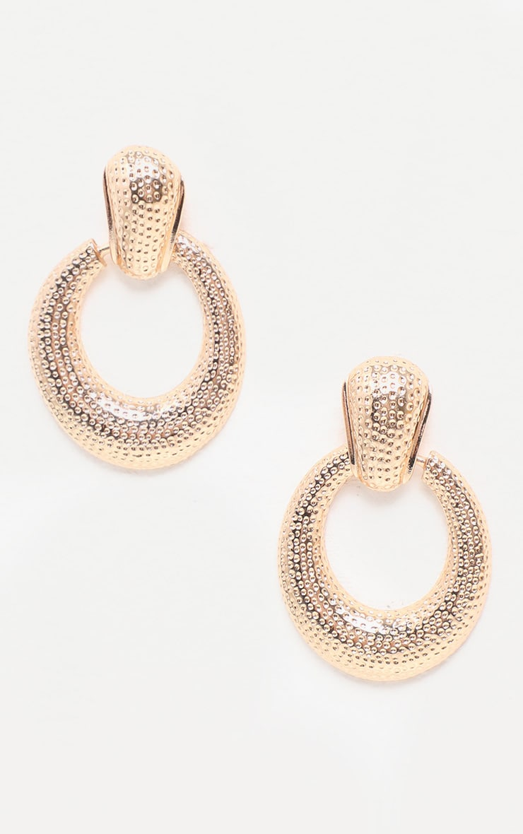 Gold Textured Door Knocker Oval Drop Earrings 2