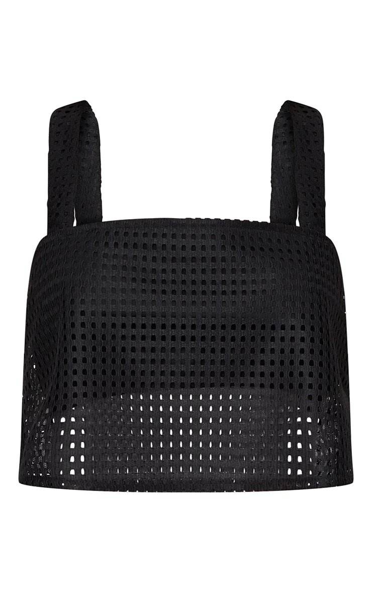Black Perforated Strappy Crop Top 3