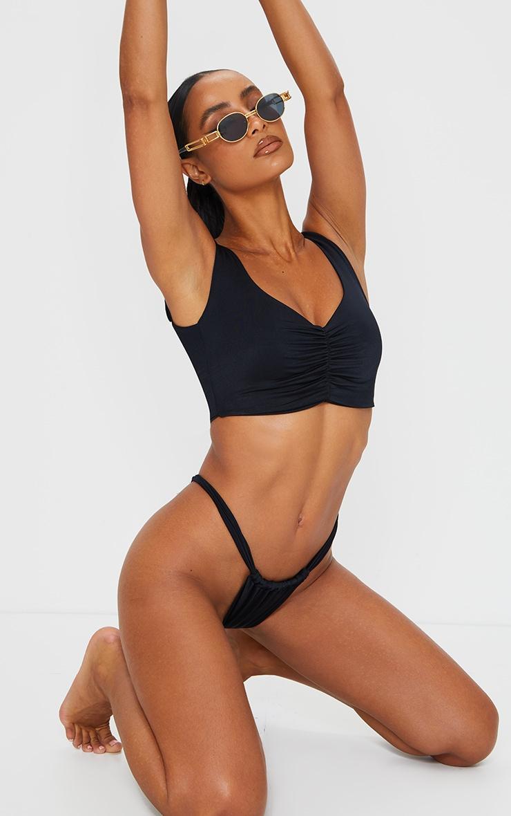 Black Mix & Match Ruched Front Bikini Top 3