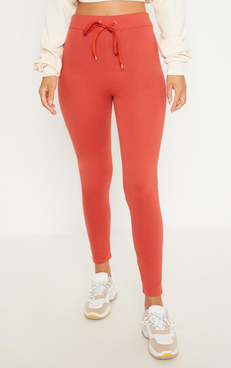 Burnt Orange Drawstring Cotton Legging 2
