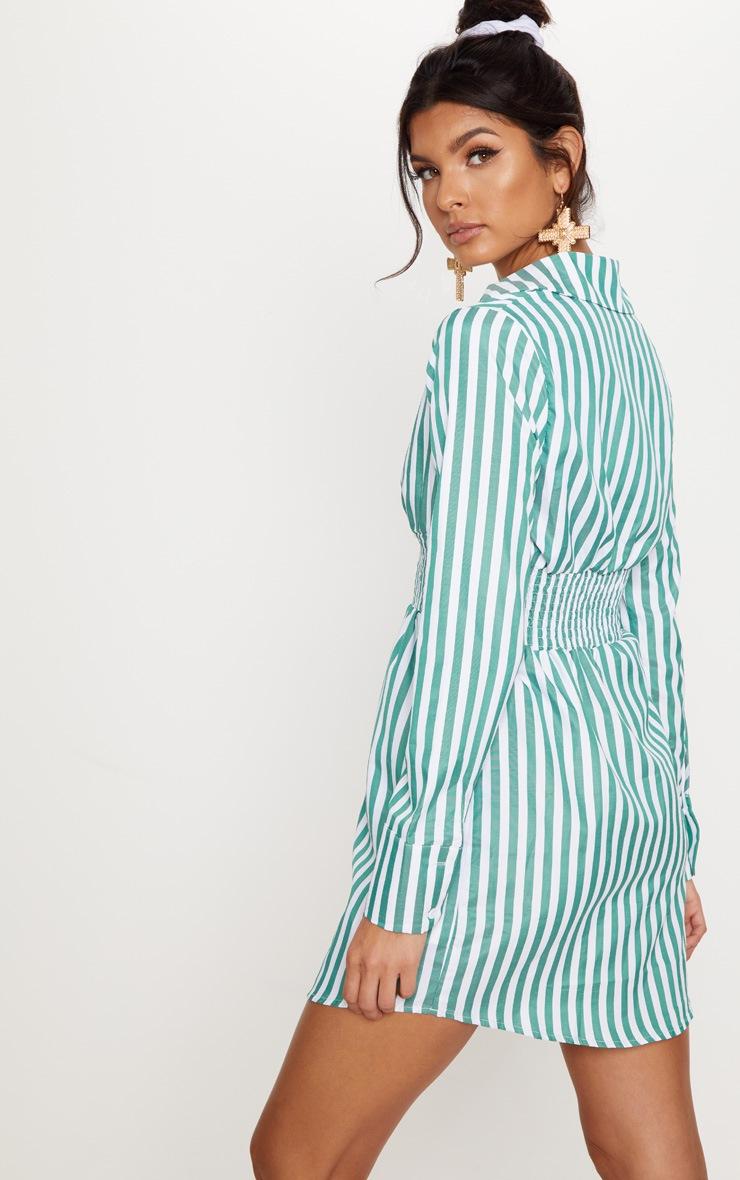 Green Stripe Print Shirring Detail Shirt Dress 2