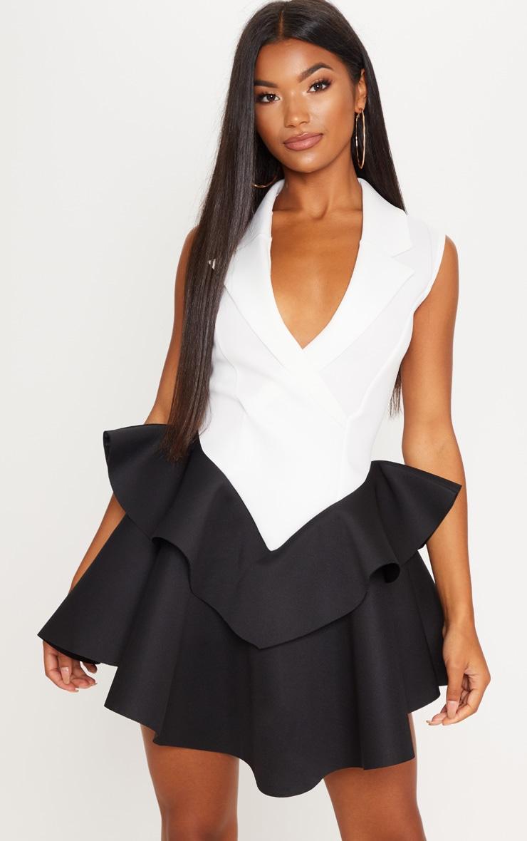 Monochrome Bonded Scuba Frill Hem Waistcoat Dress