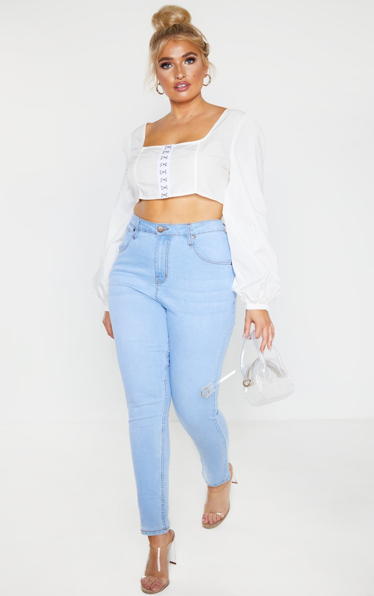 Plus Light Wash High Waisted Skinny Jean 1