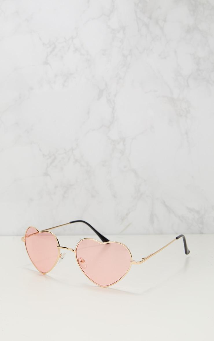 Lunettes de soleil cœur métallisées roses 2