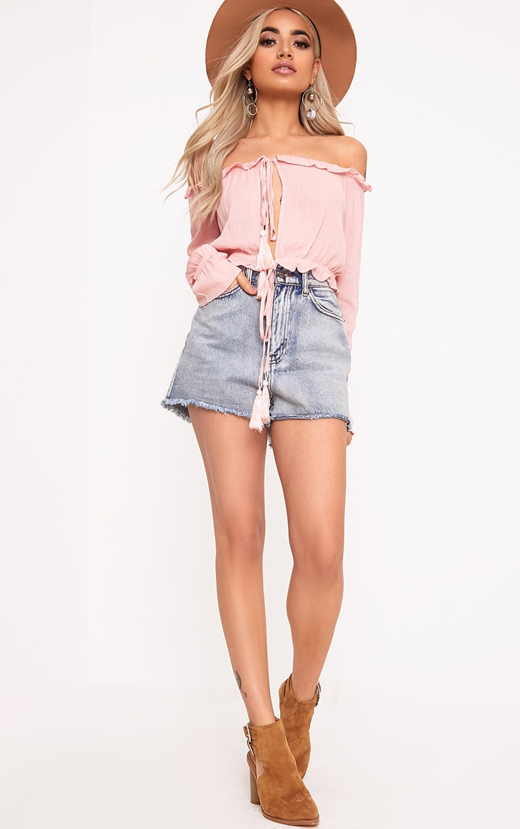 Baby Pink Bardot Double Tie Front Top 4