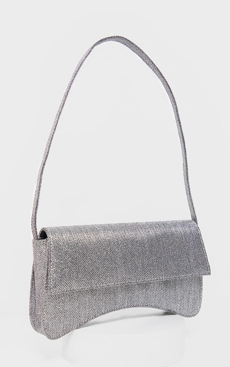 Silver Textured Glitter Flap Over Baguette Shoulder Bag     2