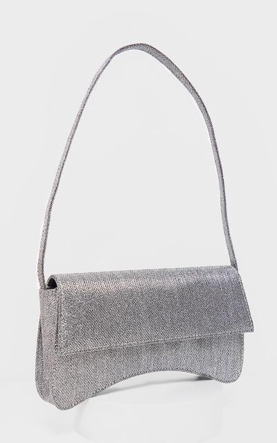 Silver Textured Glitter Flap Over Baguette Shoulder Bag