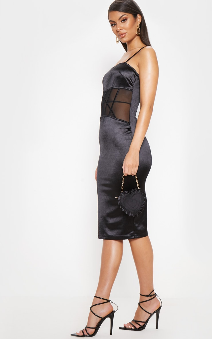 Black Satin Mesh Panel Midi Dress 4