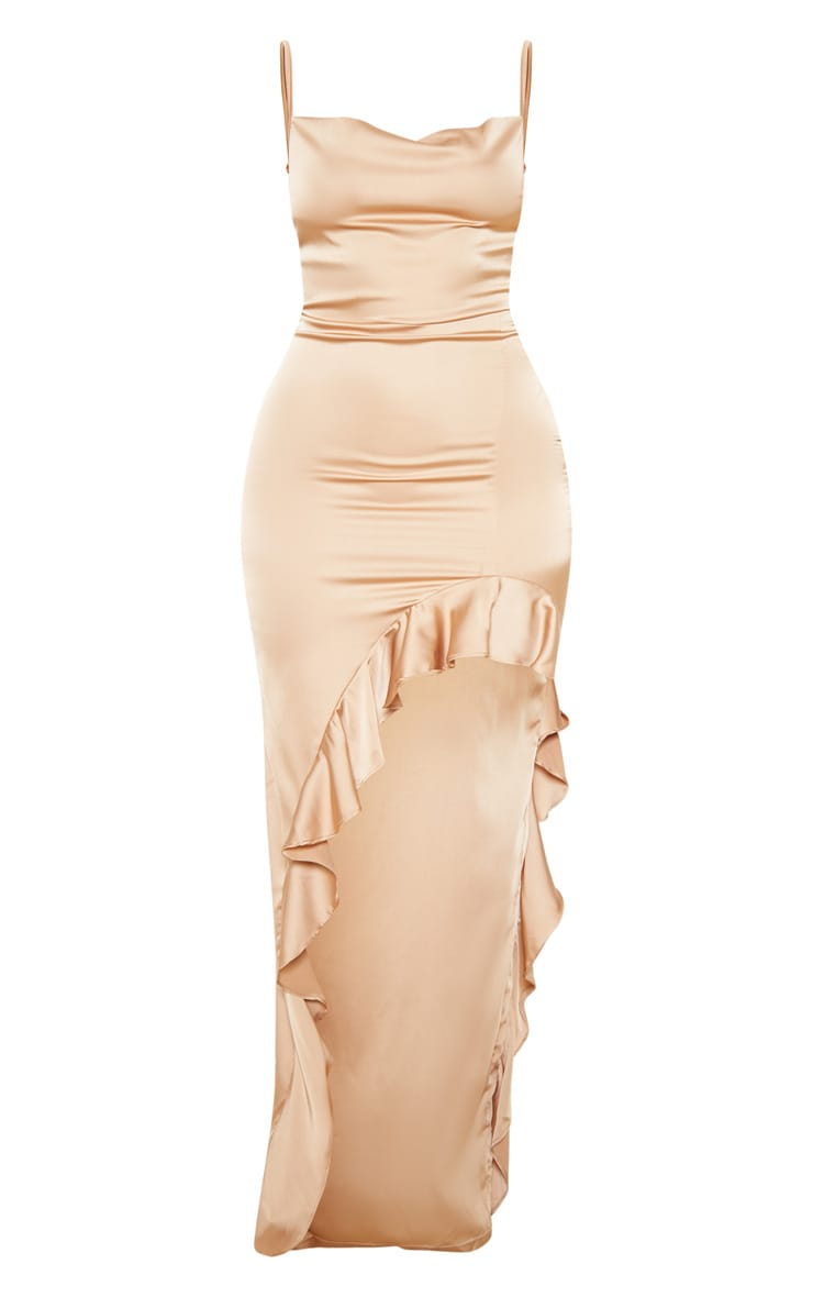 Gold Cowl Neck Frill Hem Maxi Dress 3