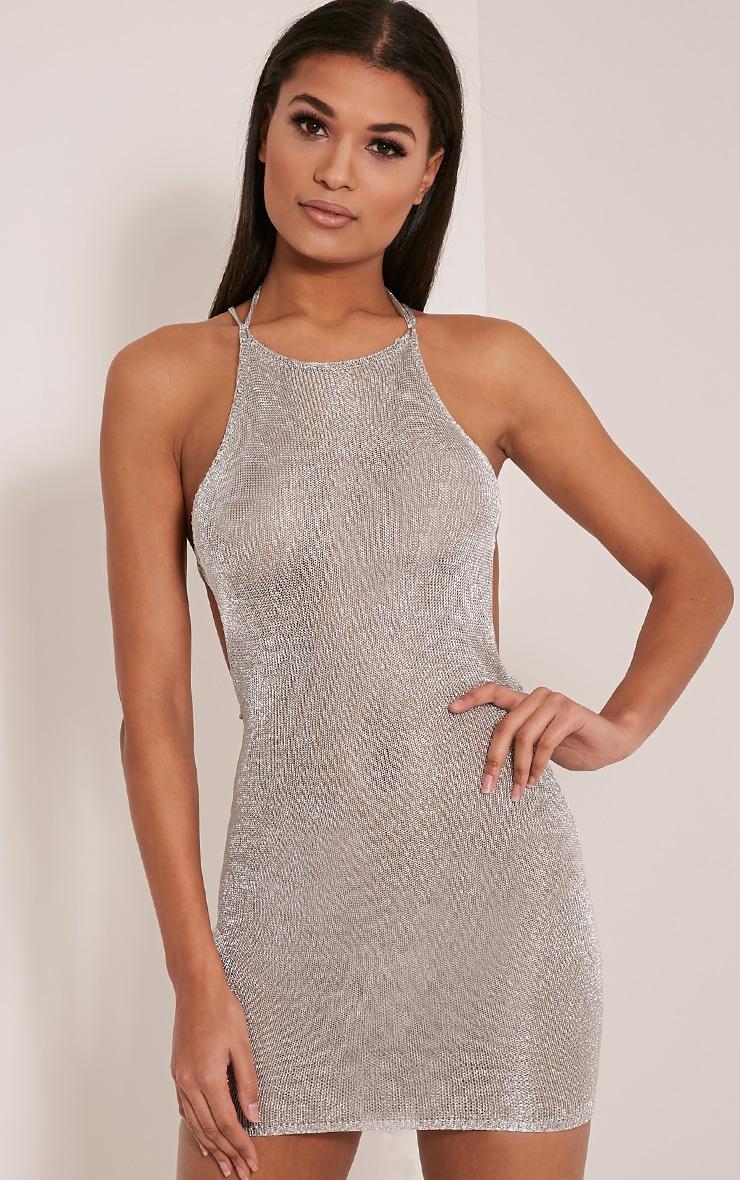 Charlay Silver Sheer Metallic Knitted Mini Dress 5