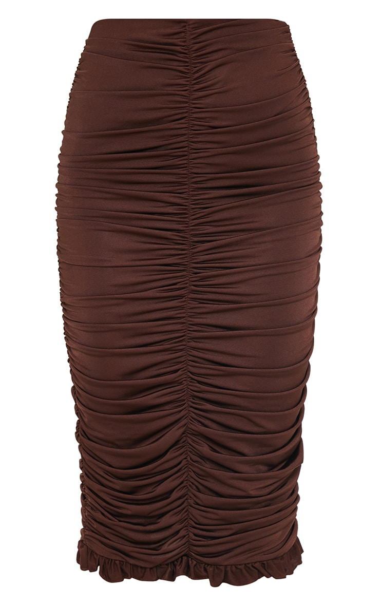 Chocolate Slinky Ruched Frill Hem Midi Skirt 5