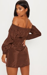 a5c210d99451 Chocolate Shell Pocket Front Zip Front Bardot Shift Dress image 2