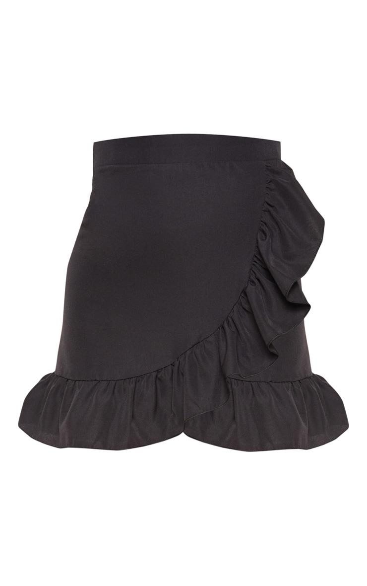 Petite Black Frill Hem Wrap Mini Skirt 2