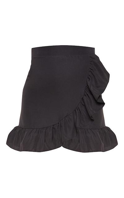 Petite Black Frill Hem Wrap Mini Skirt