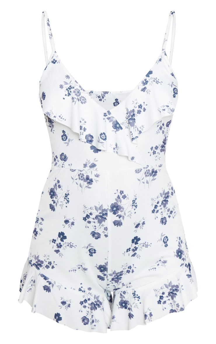 White Ditsy Floral Strappy Frill Playsuit 3