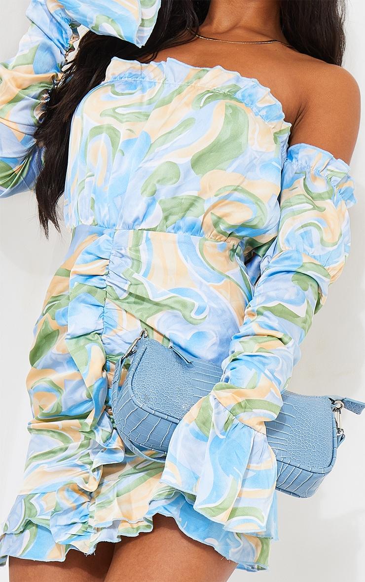 Blue Swirl Print Ruched Sleeve Bardot Bodycon Dress 4