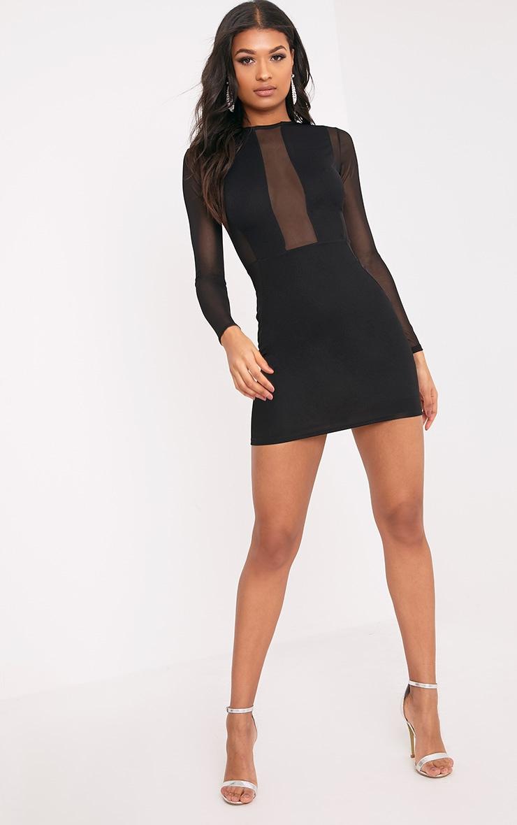 Eliza Black Mesh Insert Long Sleeve Bodycon Dress 4