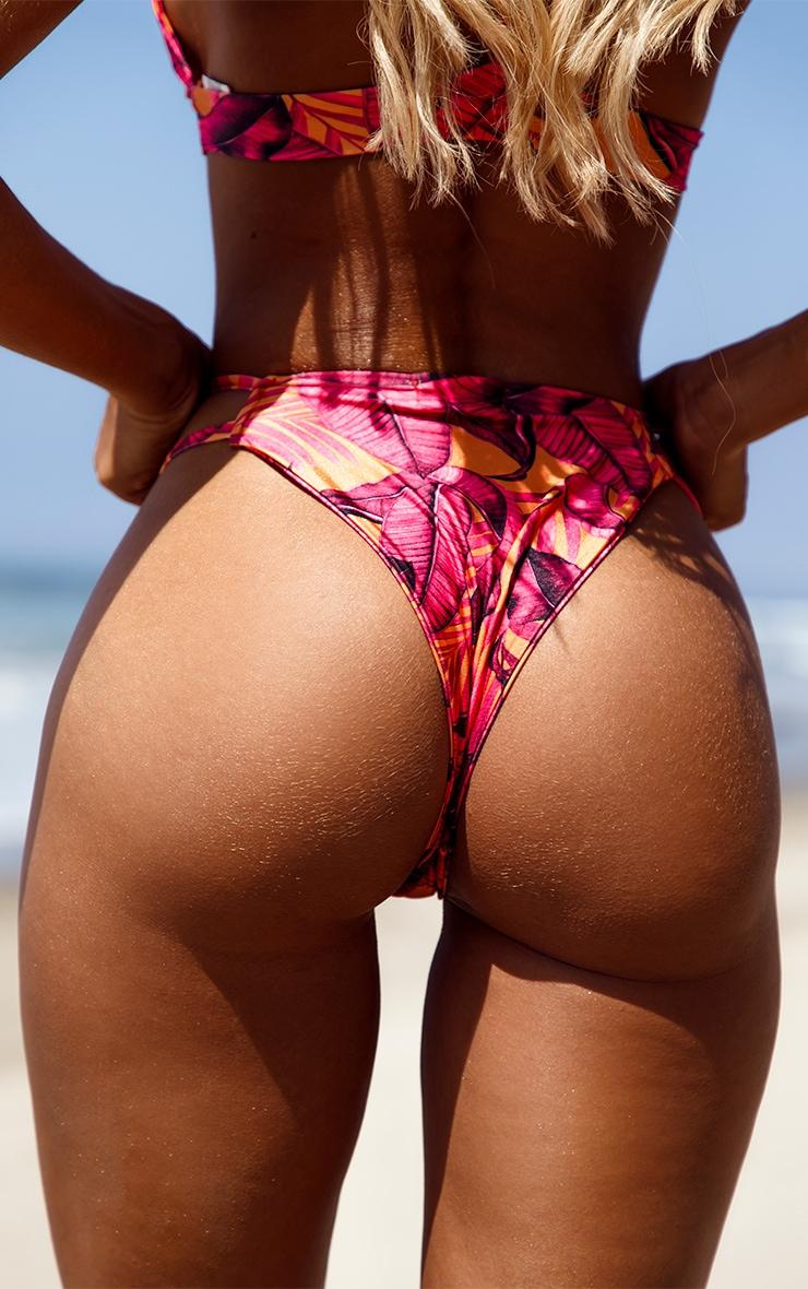 Orange Palm Leaf Bikini Bottom 4