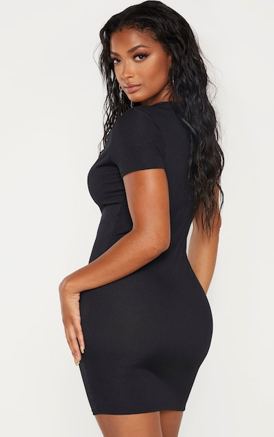 Shape Black Ribbed Button Front Bodycon Dress