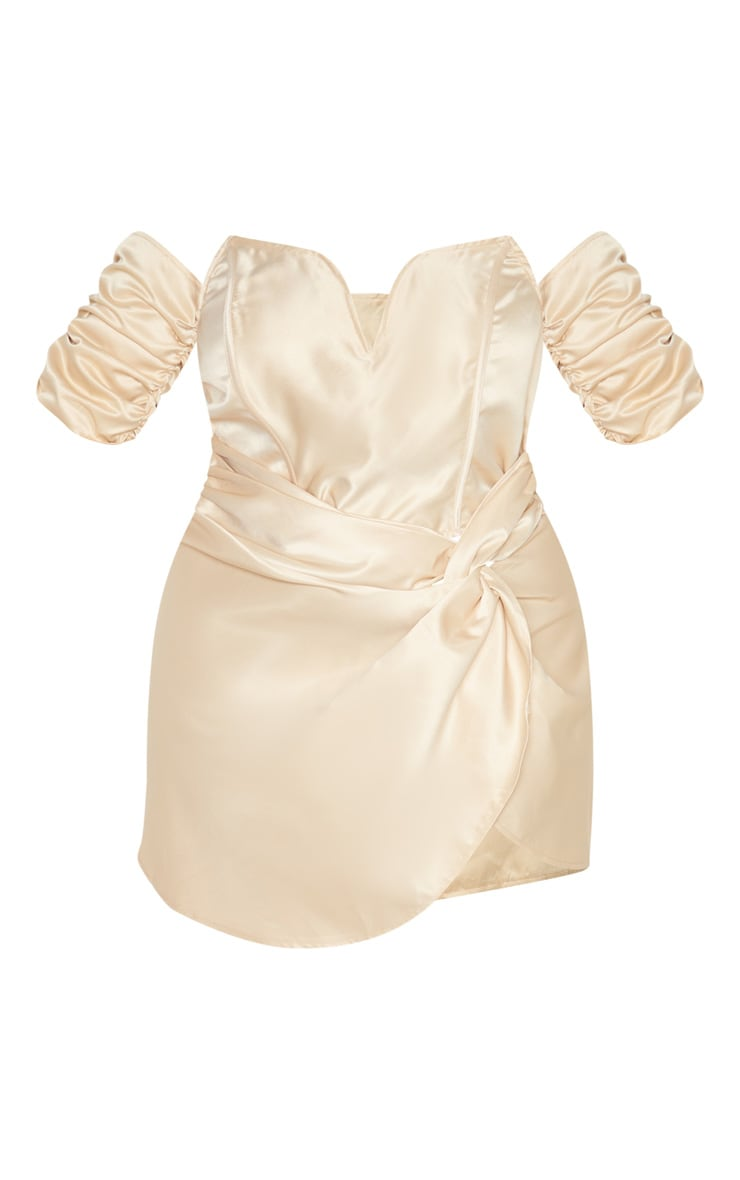 Plus Champagne Satin V Bar Wrap Bodycon Dress  3