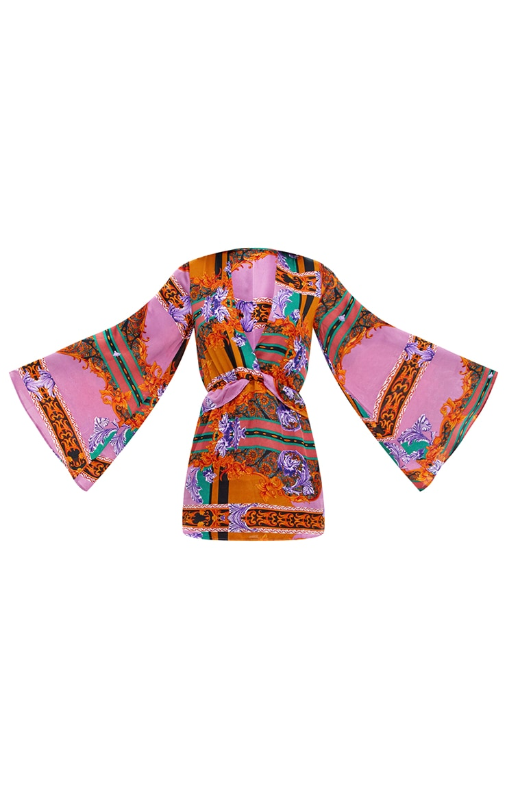 Lilac Satin Scarf Print Kimono Sleeve Plunge Shift Dress 3