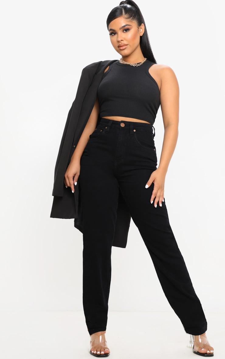 Petite Black Slim Leg Mom Jean 1