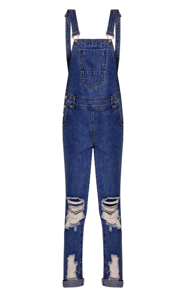 Ann salopette bleue en jean noire délavage foncé 3