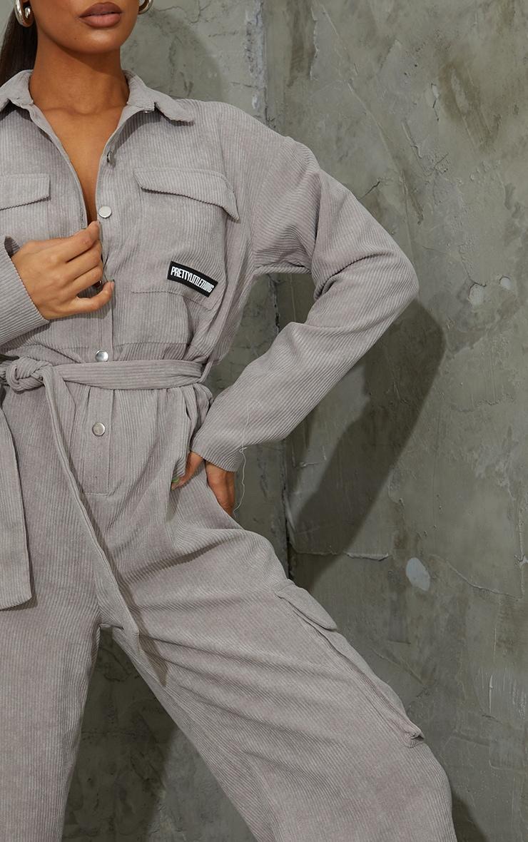 PRETTYLITTLETHING Grey Cord Boiler Jumpsuit 4