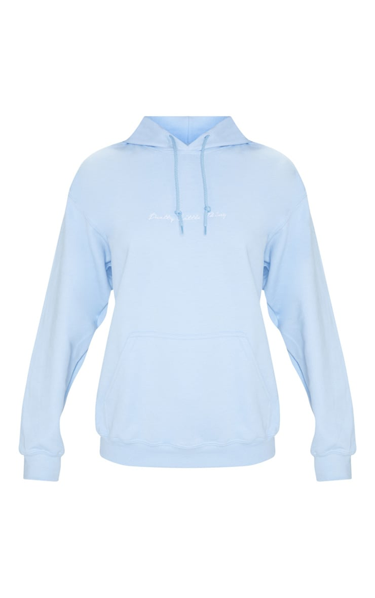 PRETTYLITTLETHING Light Blue Embroidered Oversized Hoodie 3