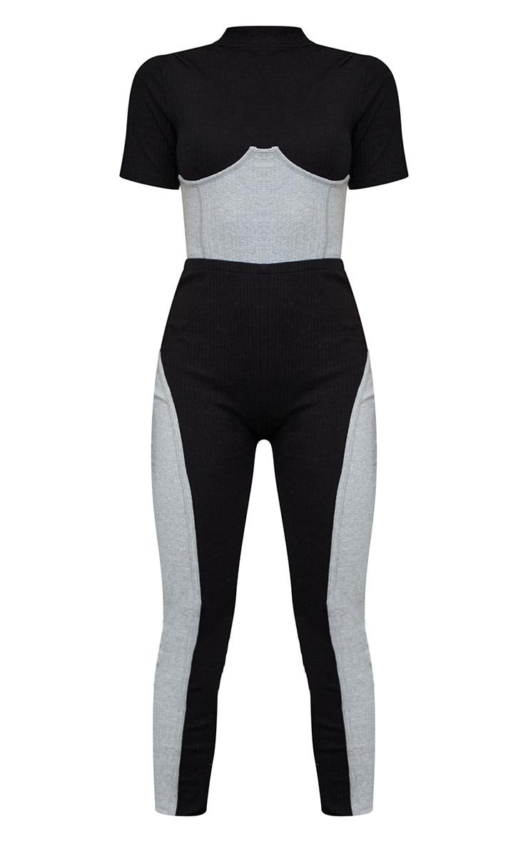 Black Thick Rib Contrast Panel Underbust Detail Jumpsuit 5