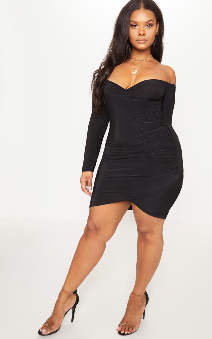 Plus Black Slinky Ruched Detail Bardot Bodycon Dress 4