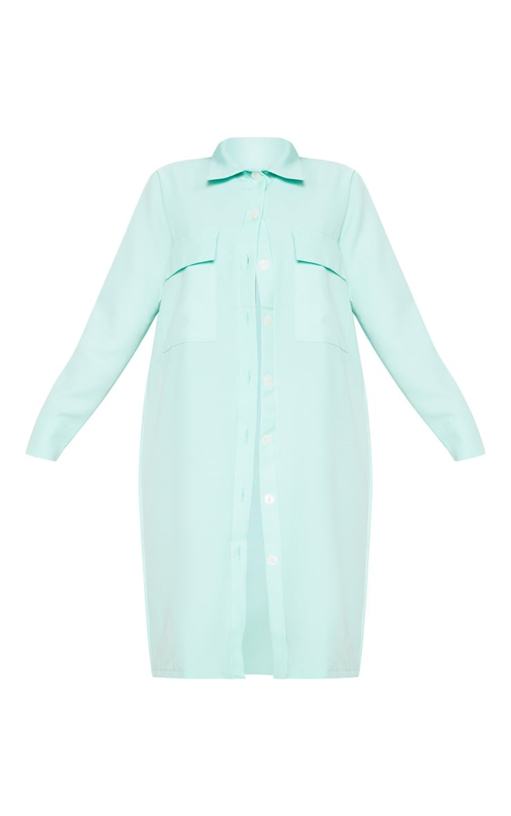 Mint Pocket Detail Longline Shirt 3