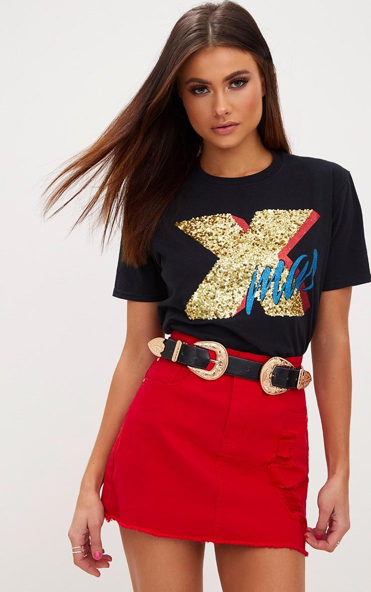 Black XMAS Sequin Glitter Slogan T Shirt 1