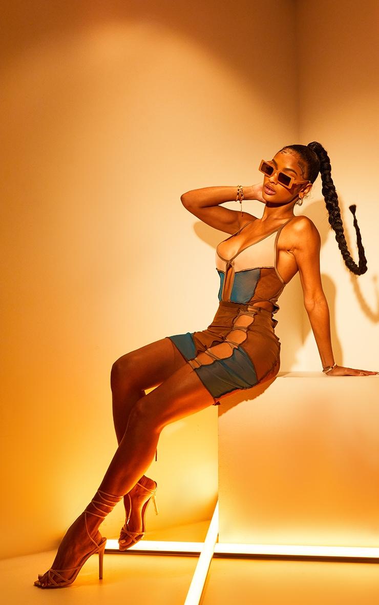 Shape Nude Mesh Panel Detail Lace Up Bodysuit 3