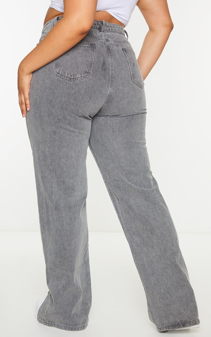 Plus Grey Washed Double Side Seam Split Hem Jeans 3