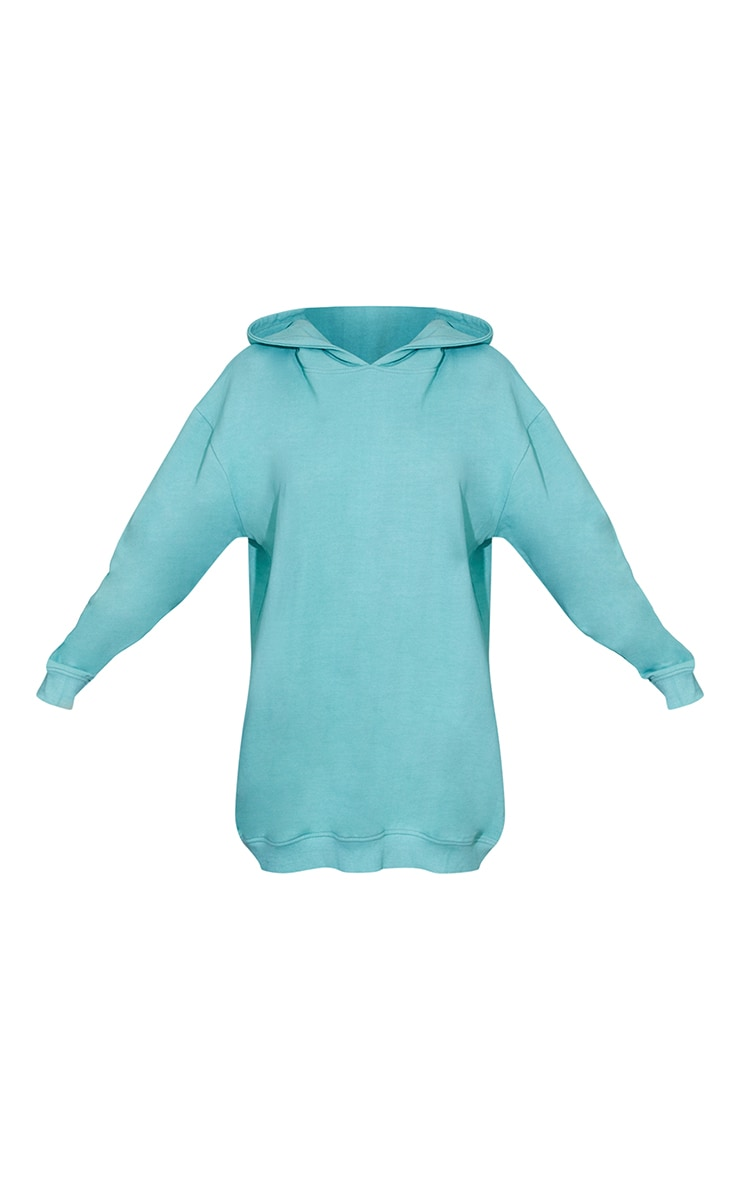 Washed Green Oversized Hoodie Sweat Jumper Dress 5