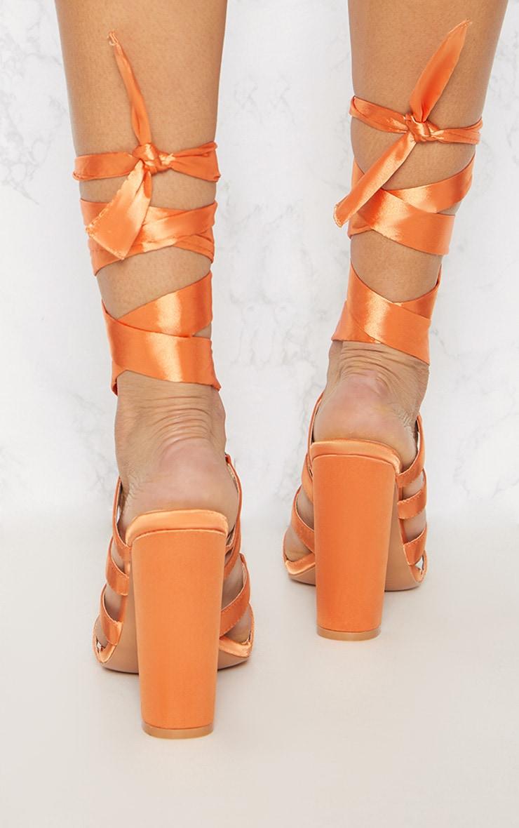 Orange Block Heel Ghillie Sandal 4