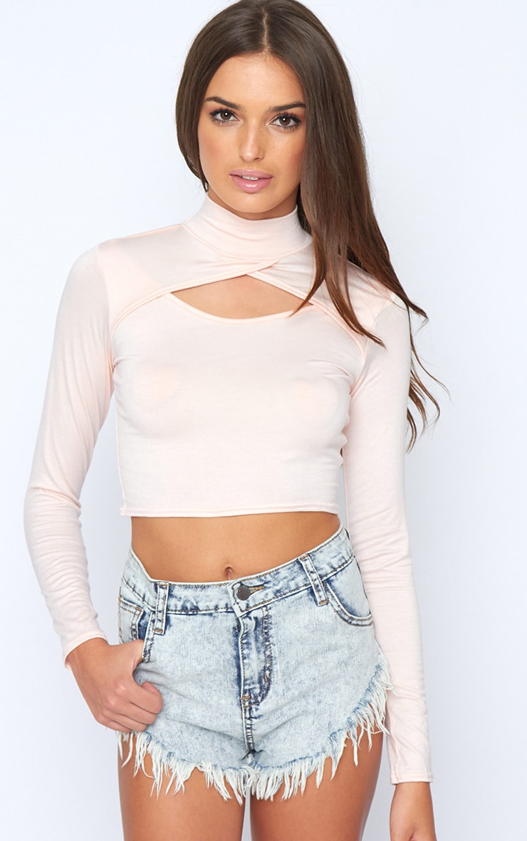 Jenna Pink Roll Neck Cut Out Crop Top  1